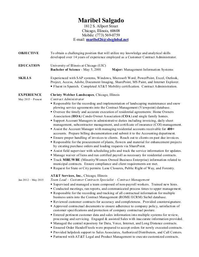 Maribel Salgado - Contract Administrator Resume