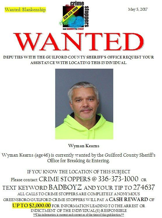 Attempt to Locate: Wanted Person Wyman Kearns - Greensboro ...