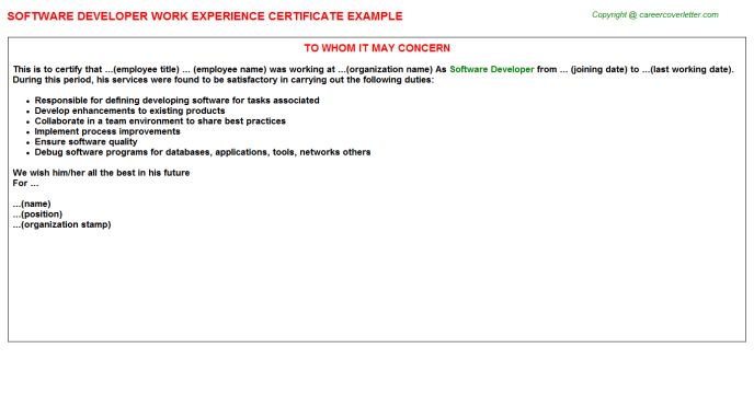 Software Developer Work Experience Certificate