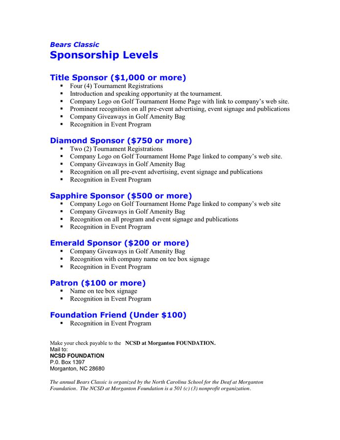 6 Sponsorship Proposal Templates - Excel PDF Formats