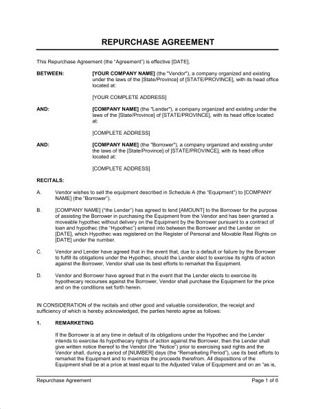 Repurchase Agreement Equipment - Template & Sample Form | Biztree.com