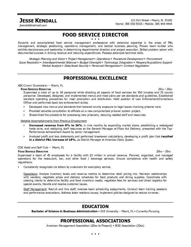 Resume Examples. Resume Templates Food Service Objective Statement ...