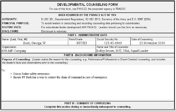 Army Safety Counseling Statement Example