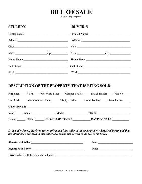 Bill Of Sale Land, Printable Sample Vehicle Bill Of Sale Template .  Bill Of Sale Land