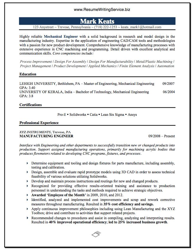 Mechanical Engineer Resume Sample | Career & Education | Pinterest ...