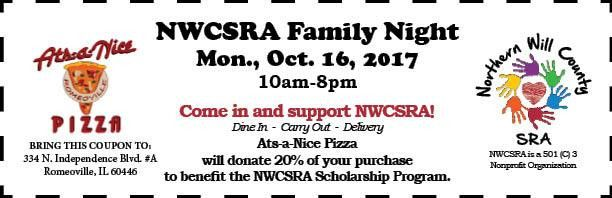 NWCSRA's Family Night is Mon., Oct. 16th at Ats-a-Nice Pizza!