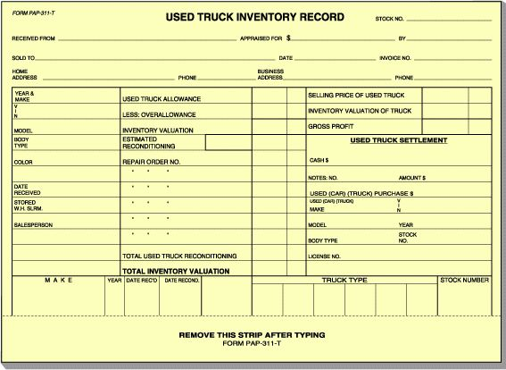 VEHICLE INVENTORY CARD – USED TRUCK (BUFF): Form Solutions, Inc.