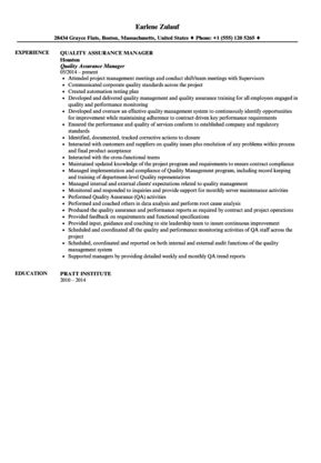 Quality Assurance Manager Resume Sample | Velvet Jobs