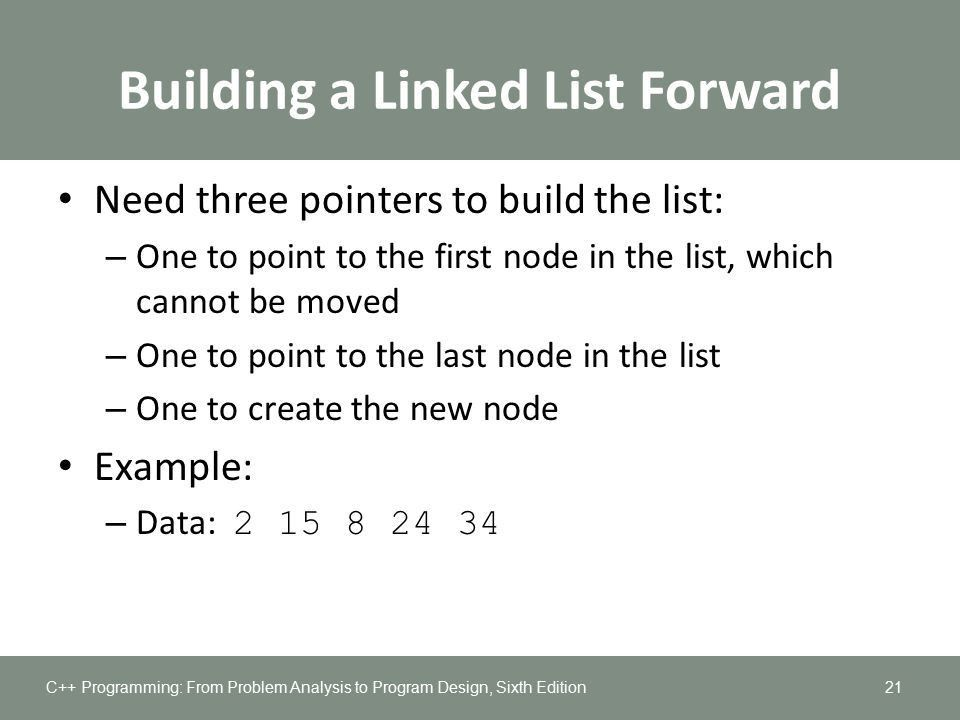 Chapter 17: Linked Lists. Objectives In this chapter, you will ...