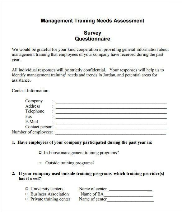 Sample Training Needs Assessment. Child Care Training Needs ...