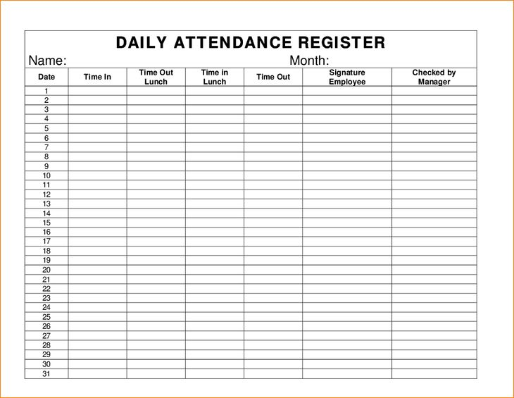 10+ daily attendance sheet | Pay Stub Template