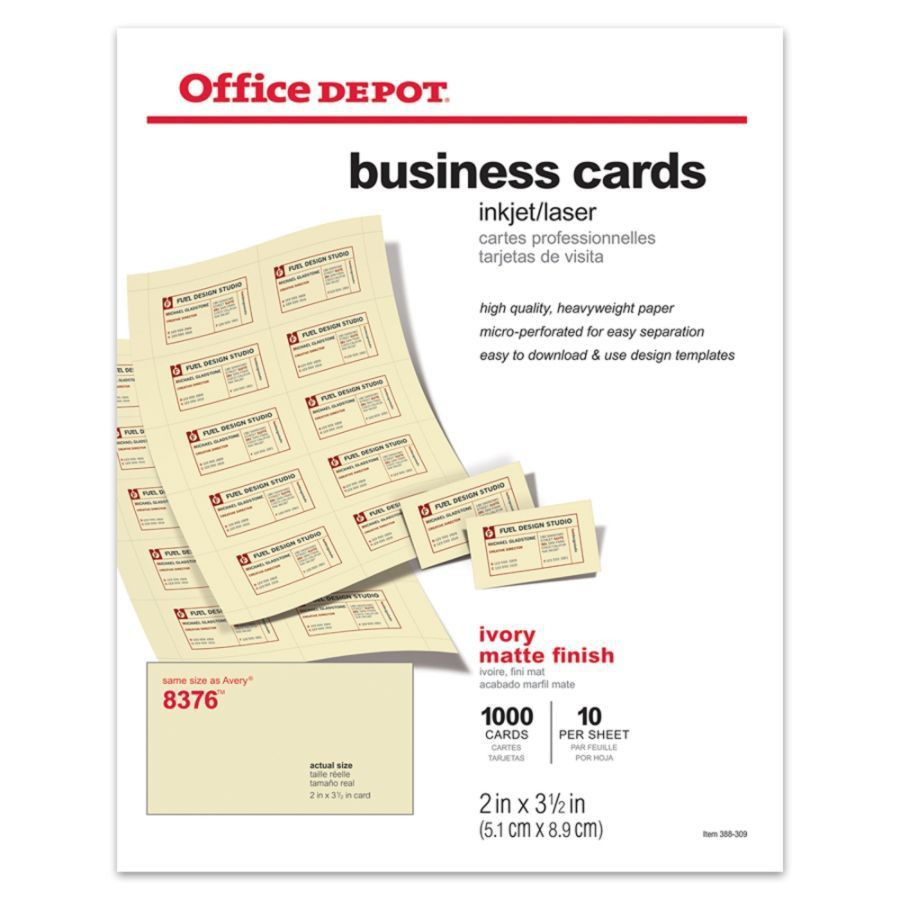 Office Depot Brand Matte Business Cards 2 x 3 12 Ivory Pack Of ...