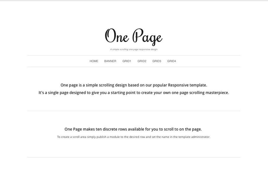 Simple One Page Joomla Template | One Page | Joomlabamboo