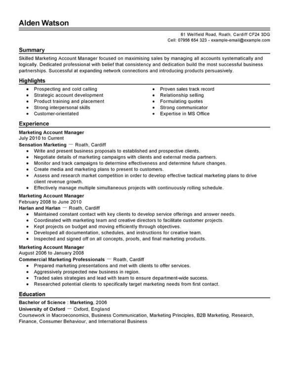 Example Advertising Account Executive Resume for Strong ...