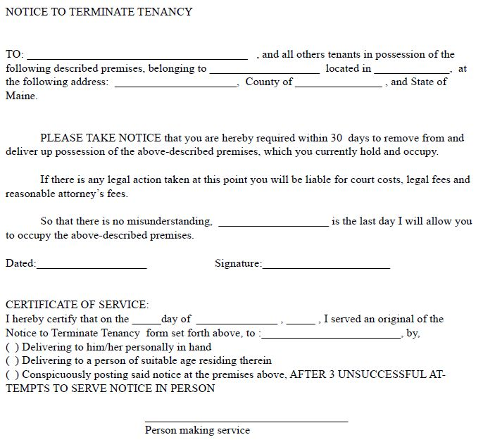 Maine 30 Day Notice to Terminate Tenancy | EZ Landlord Forms