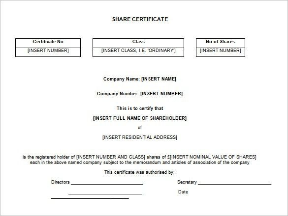Shares certificate template share stock certificate template 21 share stock certificate template 21 free word pdf format yadclub Images