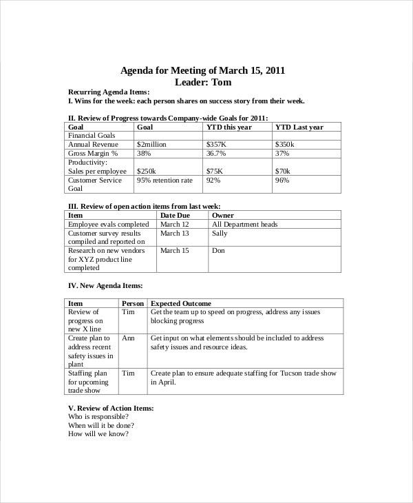 Sales Meeting Agenda Template – 11+ Free Word, PDF Documents ...