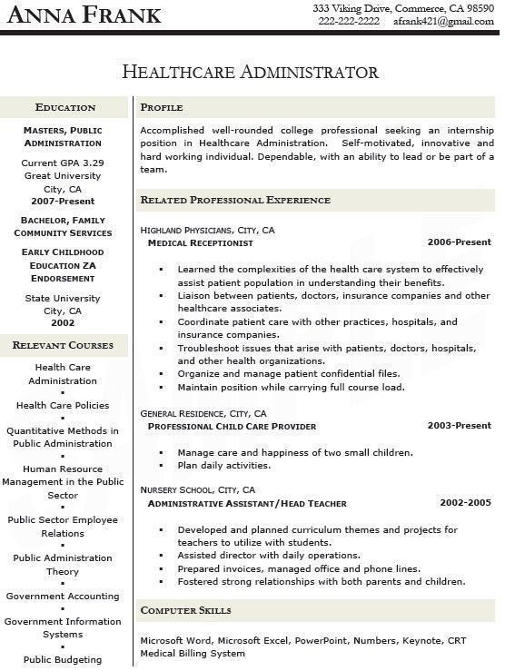 Healthcare Administration Sample Resume 11 9 Bibliography Format ...