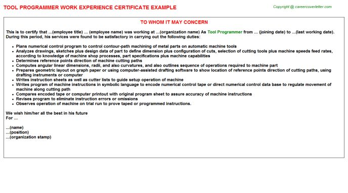 Cnc Programmer Work Experience Letters