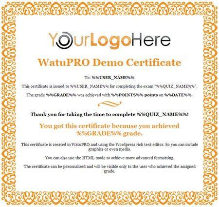 Free Certificate Templates for WatuPRO | CalendarScripts Blog