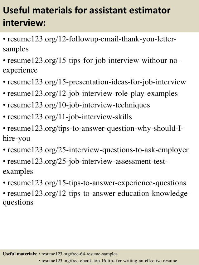 Top 8 assistant estimator resume samples