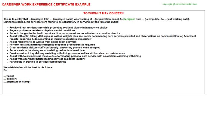 Caregiver Work Experience Certificate