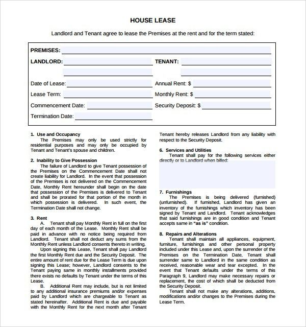 Sample House Lease Agreement - 8+ Free Documents Download in Word, PDF