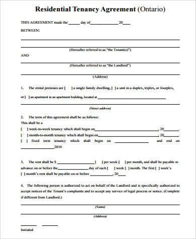 Rental Agreement Form Sample - 9+ Examples in Word, PDF