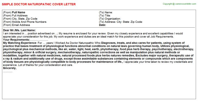 Doctor Naturopathic Cover Letter