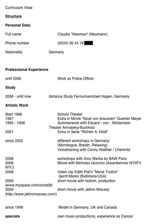 Special Skills Acting Resume List #9024