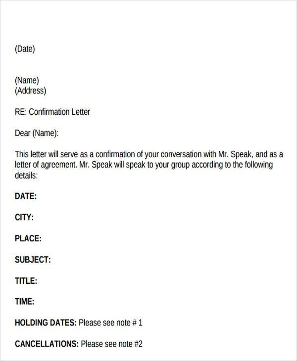 Confirmation Letter Templates - 9+ Free Sample, Example Format ...