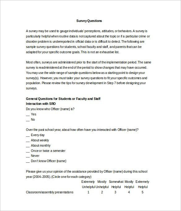 Sample Survey Question Template - 8+ Free Documents in Word, PDF