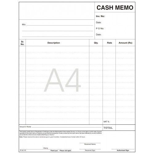 Indusrial Billing Books - Cash Memo Book Manufacturer from Pune