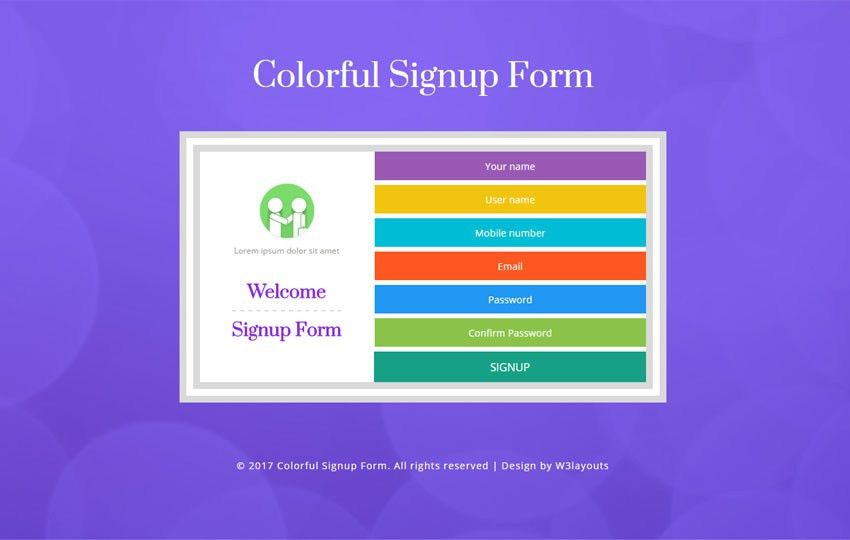 Colorful Signup Form Flat Responsive Widget Template