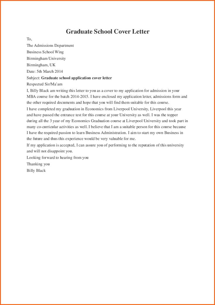 9 cover letter for graduate school - Budget Template Letter