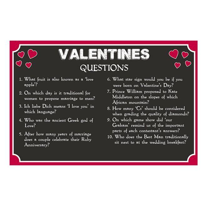 Valentines Day Free Printable - Pub Quiz | Talking Tables
