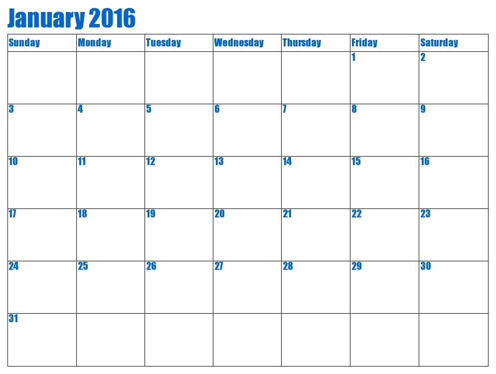 2016 Calendar Template For Word | Blank Calendar Design 2017
