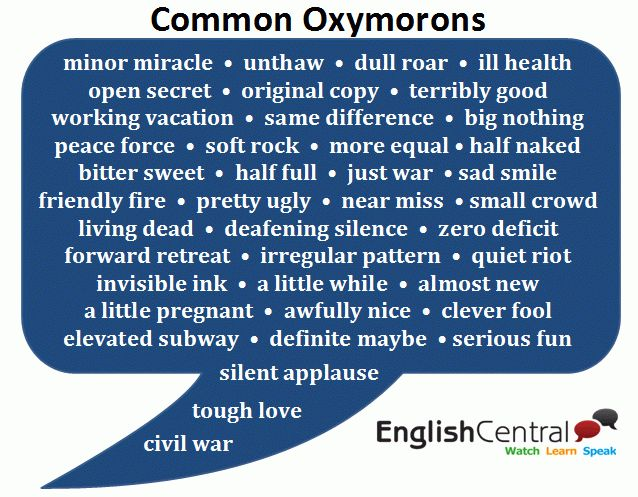 Common Oxymorons | Words - Vocabulary | Pinterest