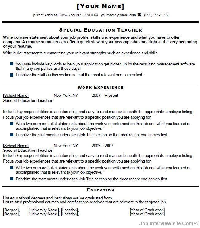 Format of resume for experienced teachers