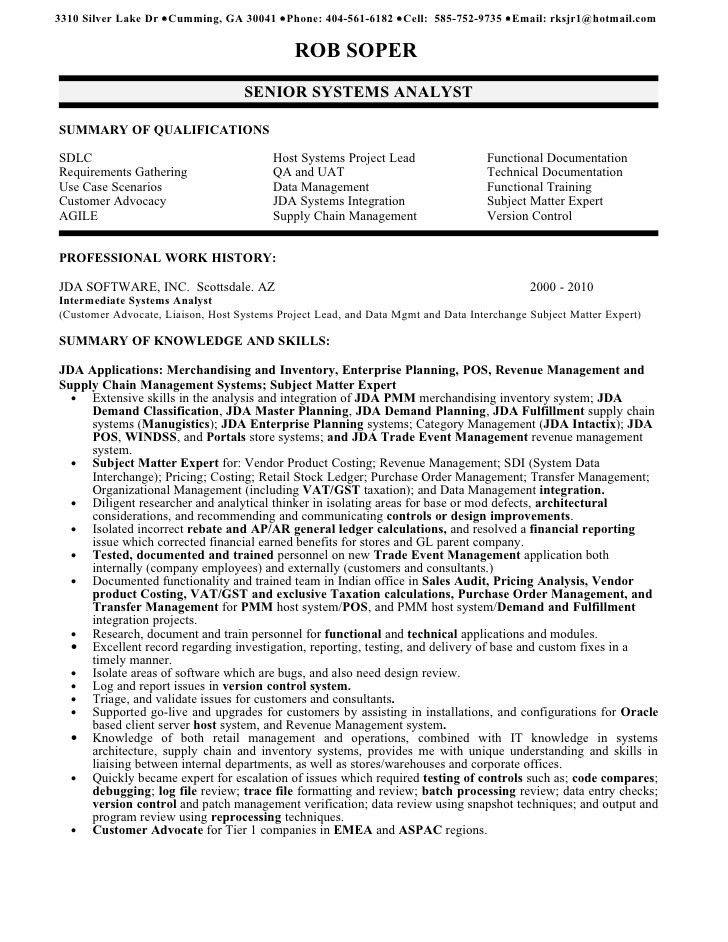 systems analyst resume samples. free junior business analyst ...