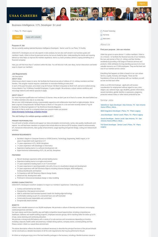 Business Intelligence / ETL Developer - Senior Level job at USAA ...
