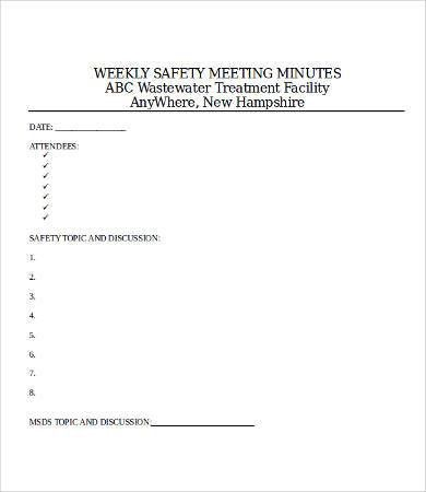 Safety Meeting Minutes Template - 9+ Free Word, PDF Documents ...