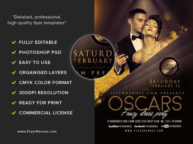 Oscars Fancy Dress Party Flyer Template V2 - FlyerHeroes