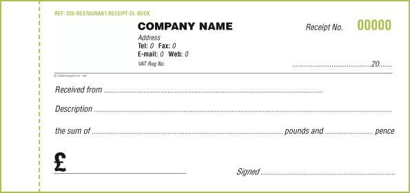 receipt book template