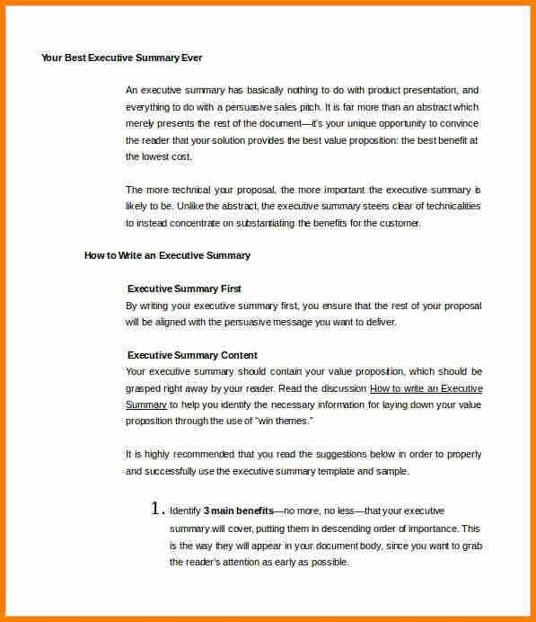 how to write an executive summary for a resumes