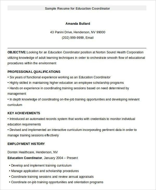 Sample Resume For Education - Best Resume Collection
