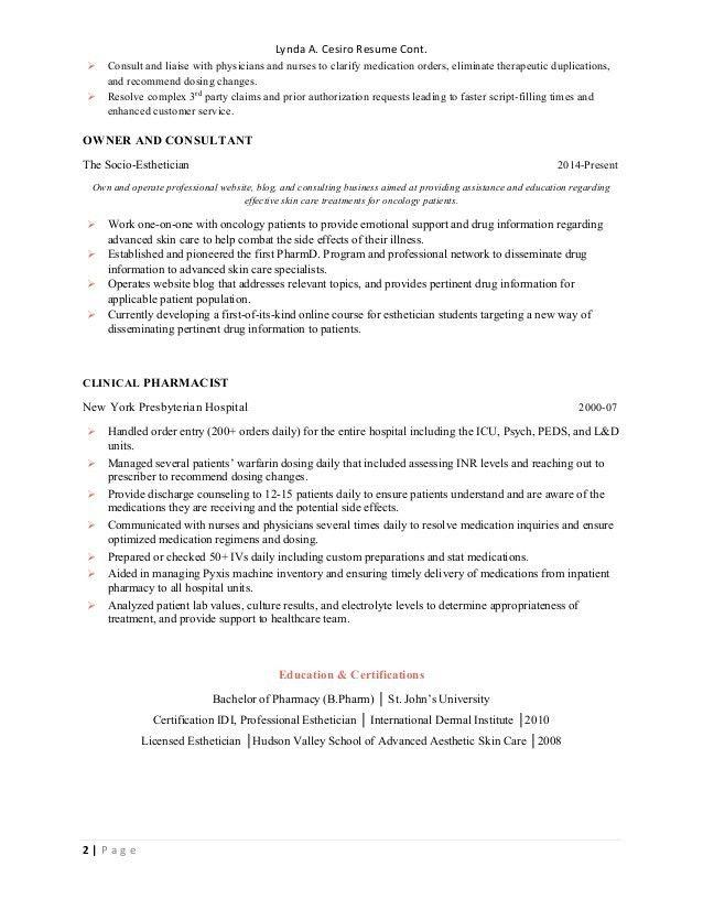 Lynda Cesiro Clinical Resume