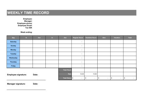 Time Sheet - Template & Sample Form | Biztree.com