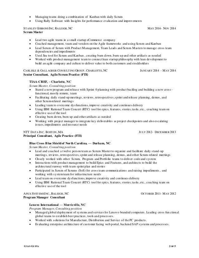 Resume of Gyan Gupta for Agile ScrumMaster position