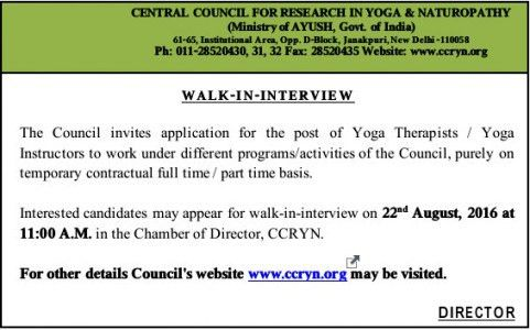 Walk in Interview for the post of Yoga Therapist and Yoga ...